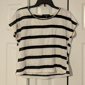 Black and white striped lace short sleeve shirt